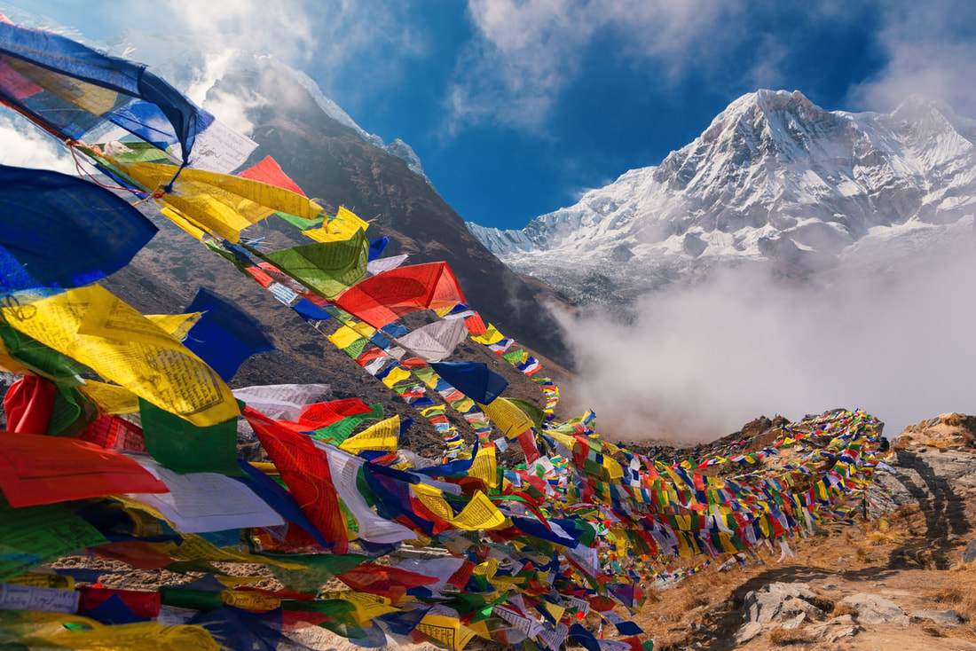 Nepal Mountain and prayer flags