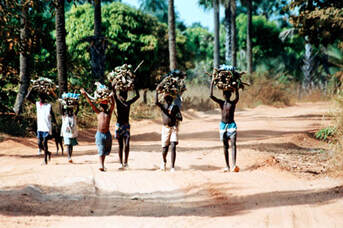 Poor african workers carrying wood