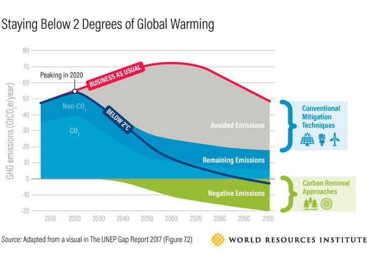 Graph showing how to slow Global Warming by reforestation and planting trees